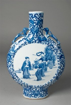 10: Chinese Blue and White Porcelain Flask