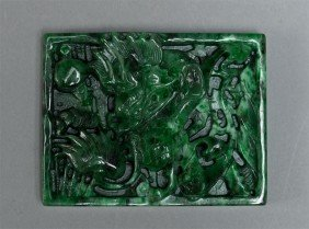 12: Chinese Carved Jade Plaque