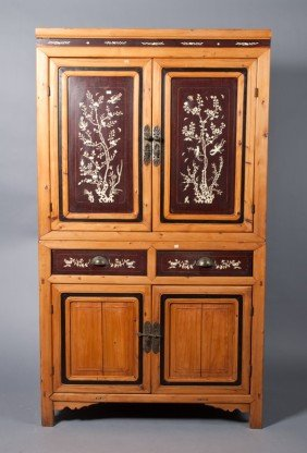 Chinese Inlaid Two Piece Cabinet