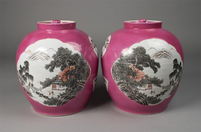 20: Pr. Of Chinese Porcelain Covered Jars