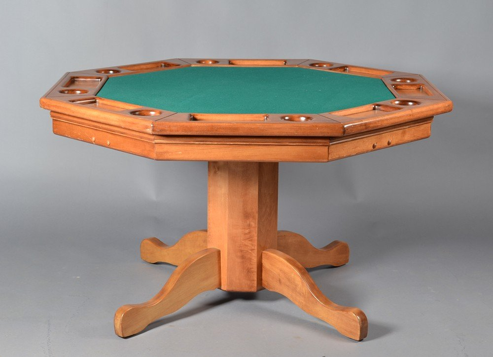 440: A Fine Octagon Wooden Games Table and Chairs