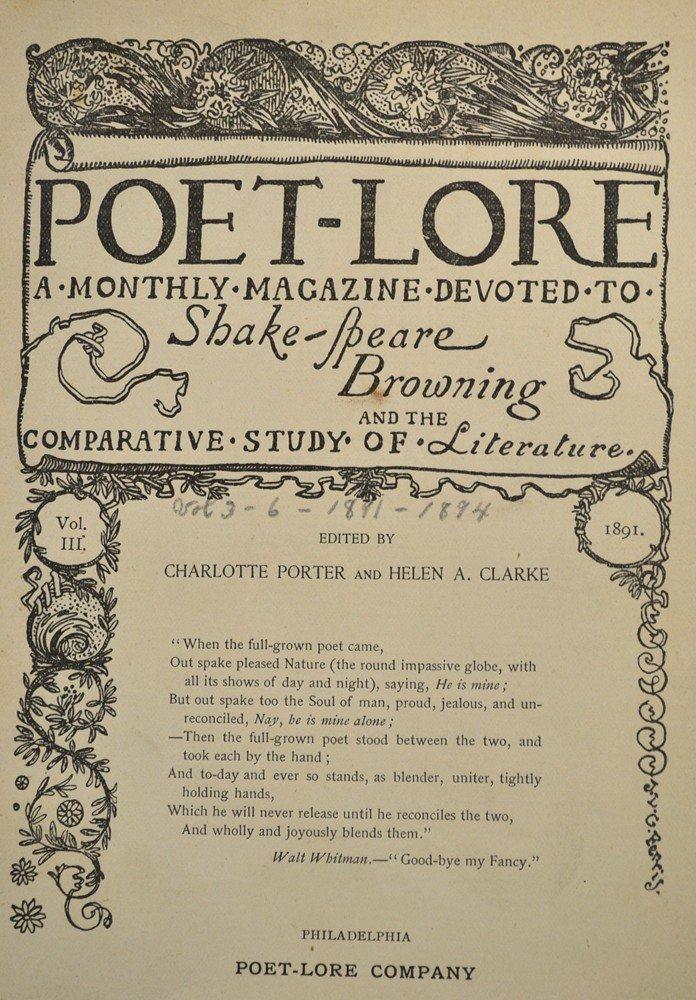 444: Poet-Lore, 1891-1894