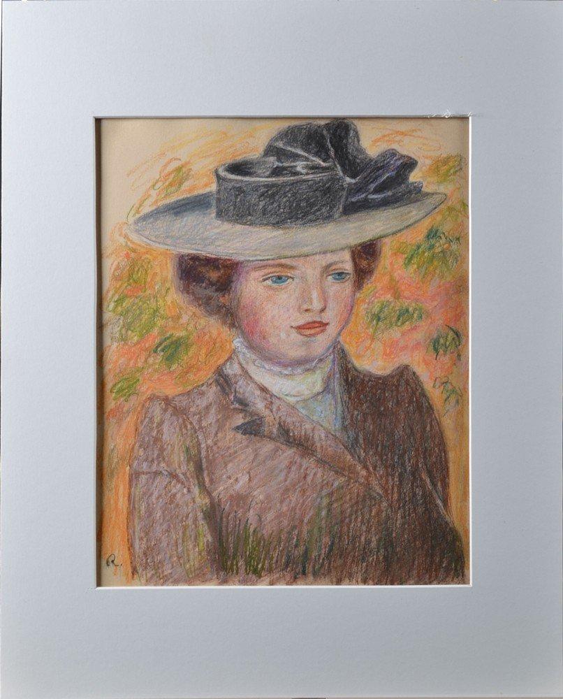 453: Monogramed Pierre Auguste Renoir, Pastel on Paper