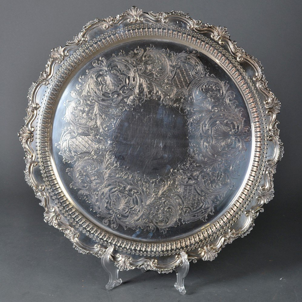456: Fine English Silver Plated Serving Tray