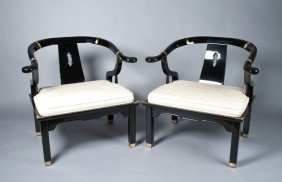 Pr. Of Chinese Black Lacquer Horseshoe Chairs