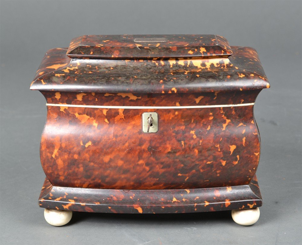 527: A Fine Georgian Tortoise Shell & Ivory Tea Caddy