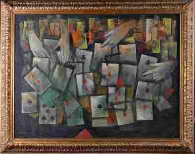 556: Attb. Mordecai Ardon Oil Painting on Canvas