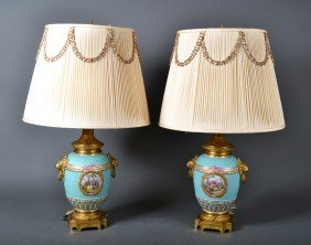 Fine Pair Of Sevres & Gilt Bronze Porcelain Lamps