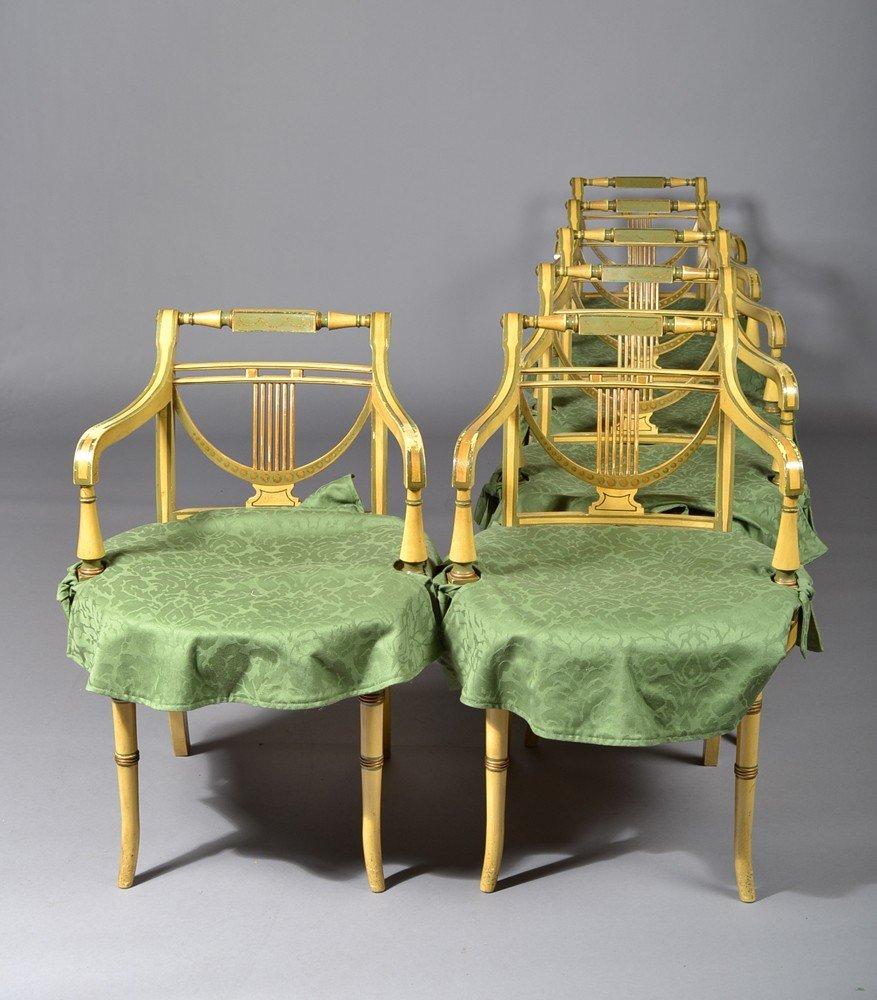 584: (6) Regency Style Open Armchairs