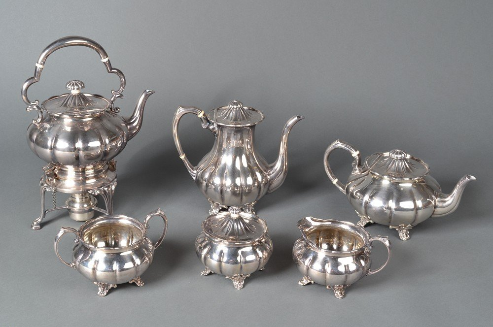 588: A Fine Six Piece Sheffield Silver Plate Tea Set