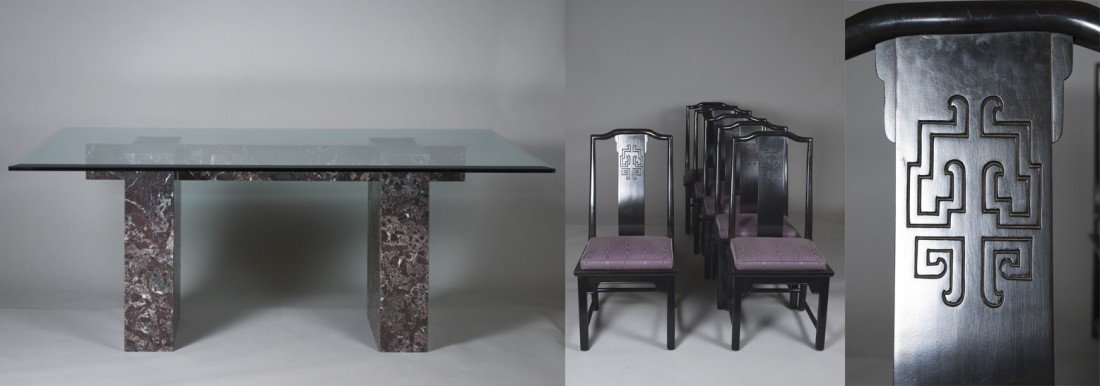 593: Chinese Marble and Glass Dinning Table & Chairs