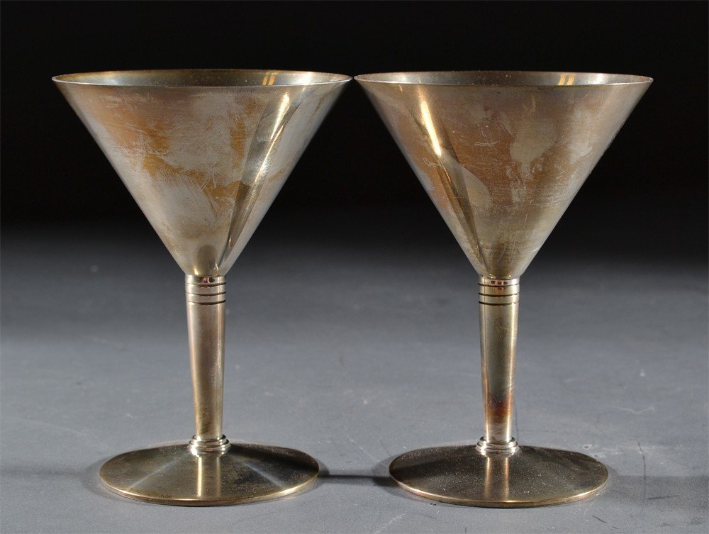 596: Pair Of Sterling Silver Tiffany Wine Goblets