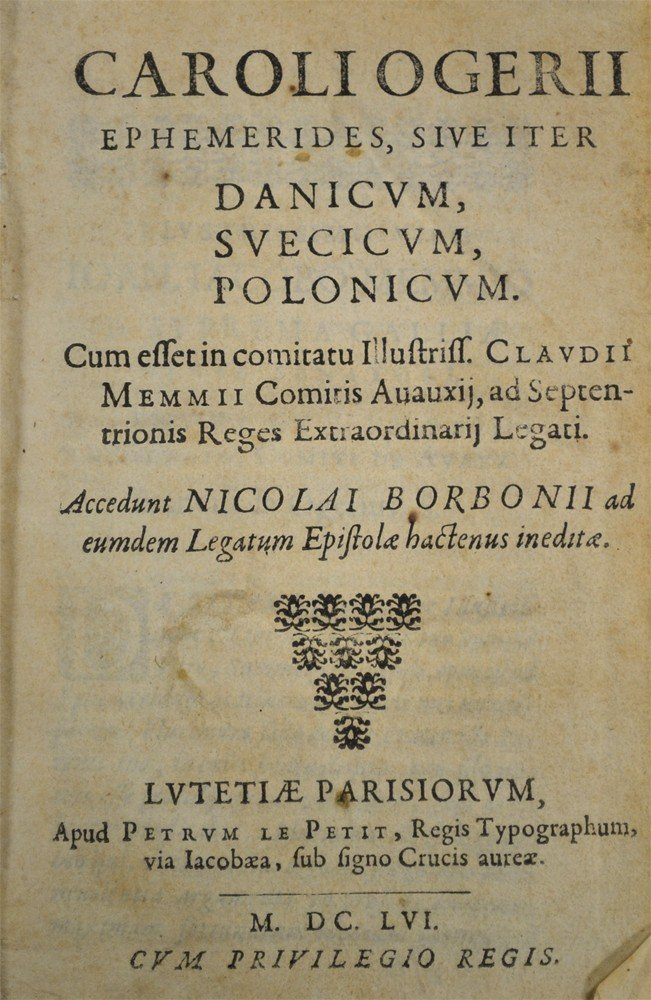 603: Caroli Ogerii Ephemerides, Sive Iter, 1641