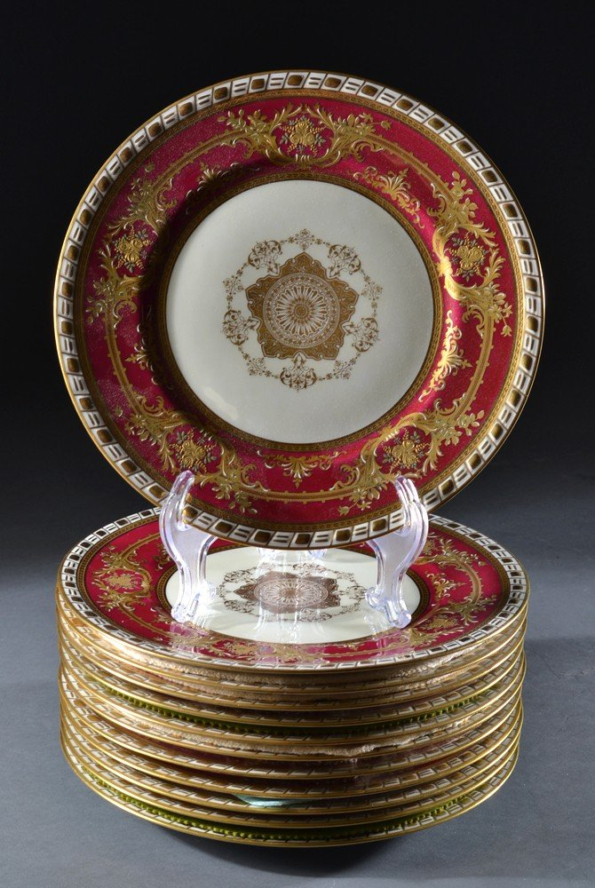 605: (12) Charles Ahrenfeldt Limoges Porcelain Plates