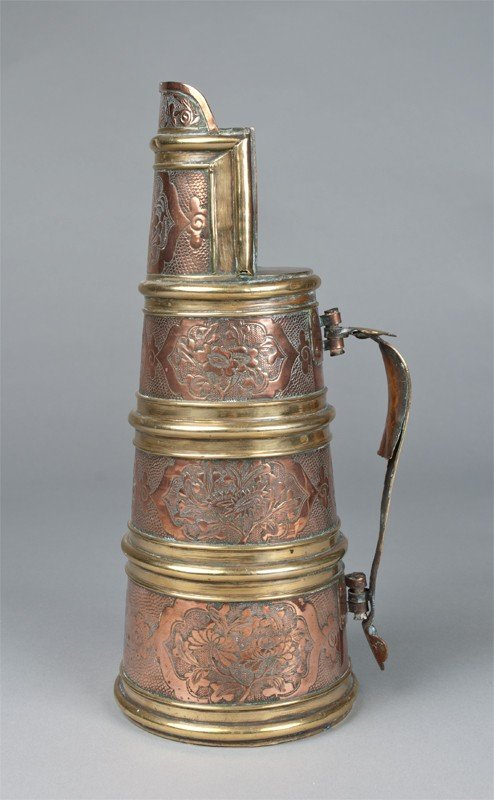 766: A Fine English Brass and Copper Ale Pitcher