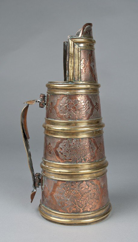 766: A Fine English Brass and Copper Ale Pitcher - 3