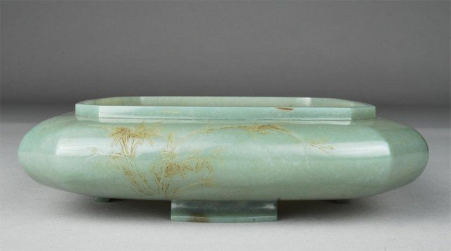 1: Exceptional Chinese Carved Jade Narcissus Bowl