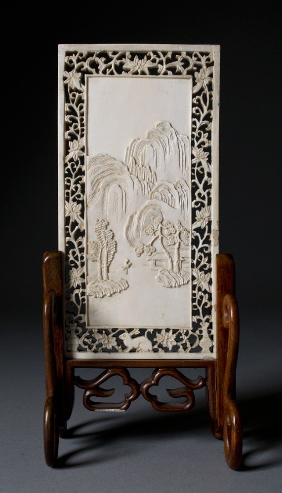 3: Chinese Carved Ivory Table Screen