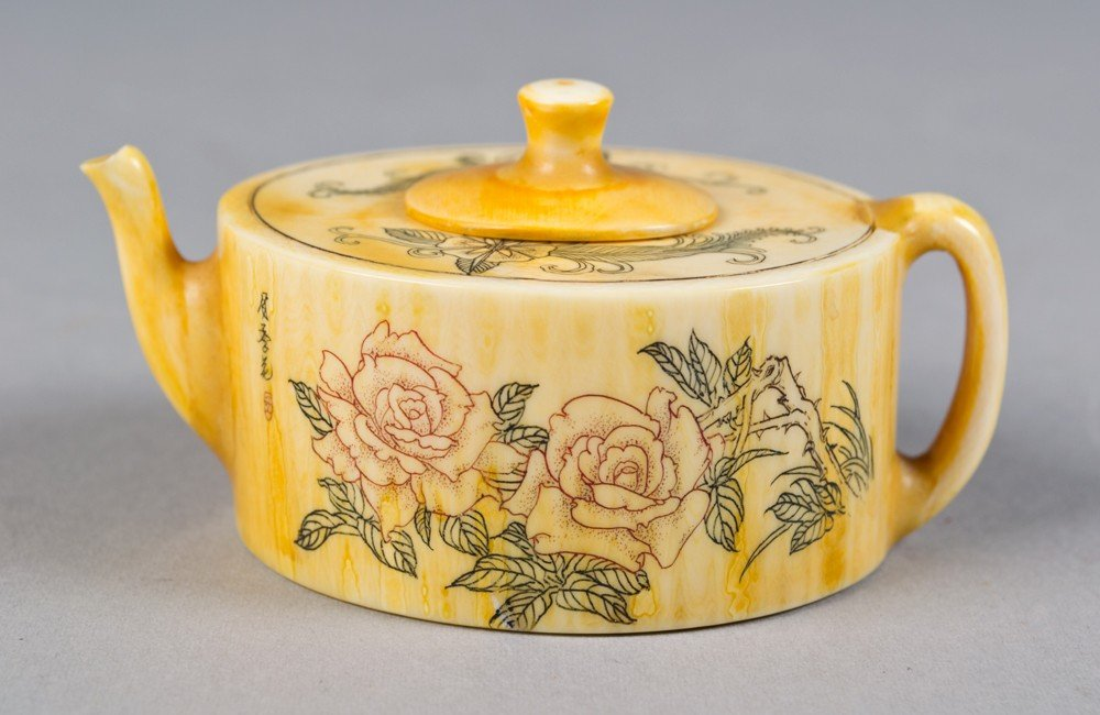 5: Chinese Carved Ivory Tea Pot