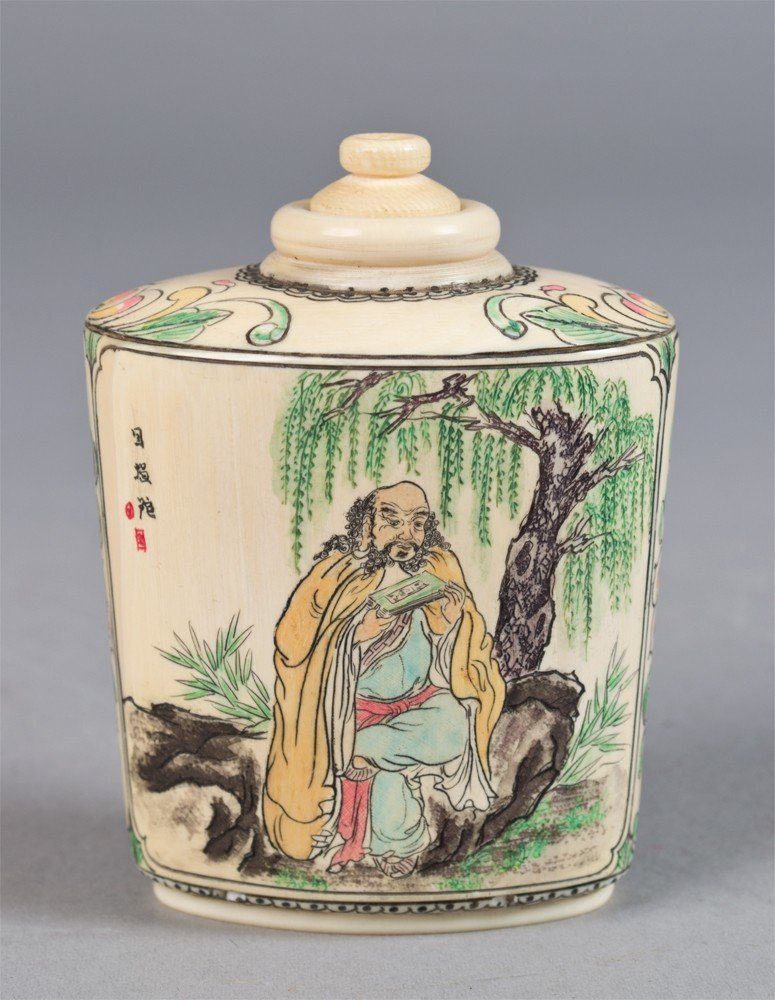 9: A Large Chinese Polychromed Ivory Snuff Bottle