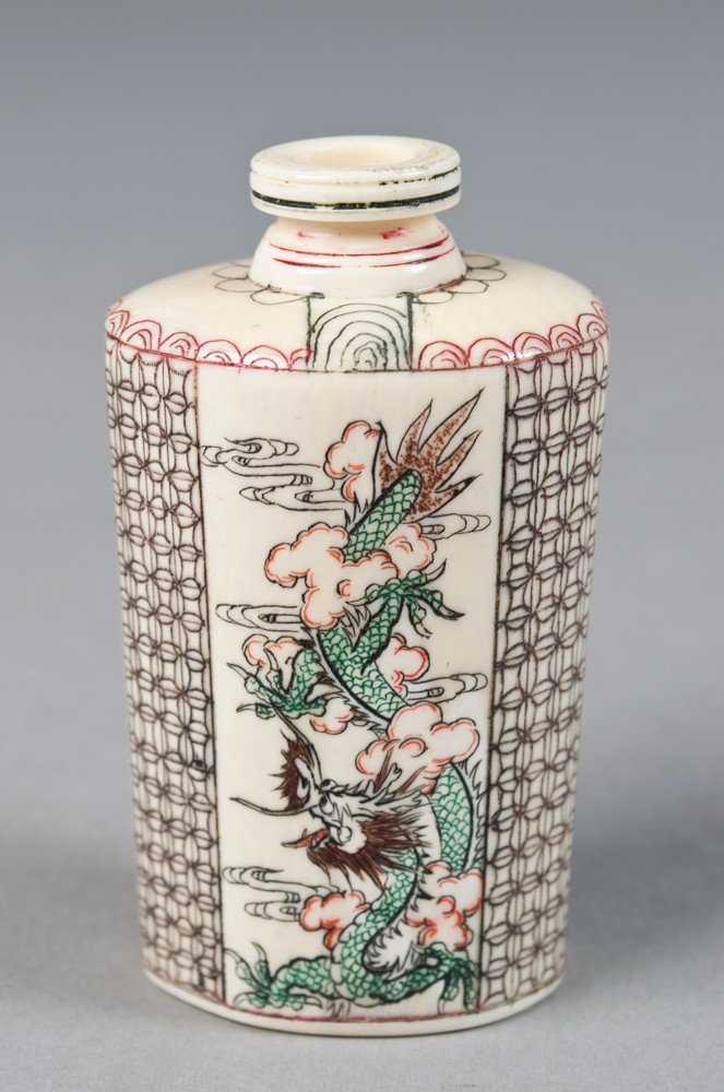 10: Chinese Polychromed Ivory Snuff Bottle