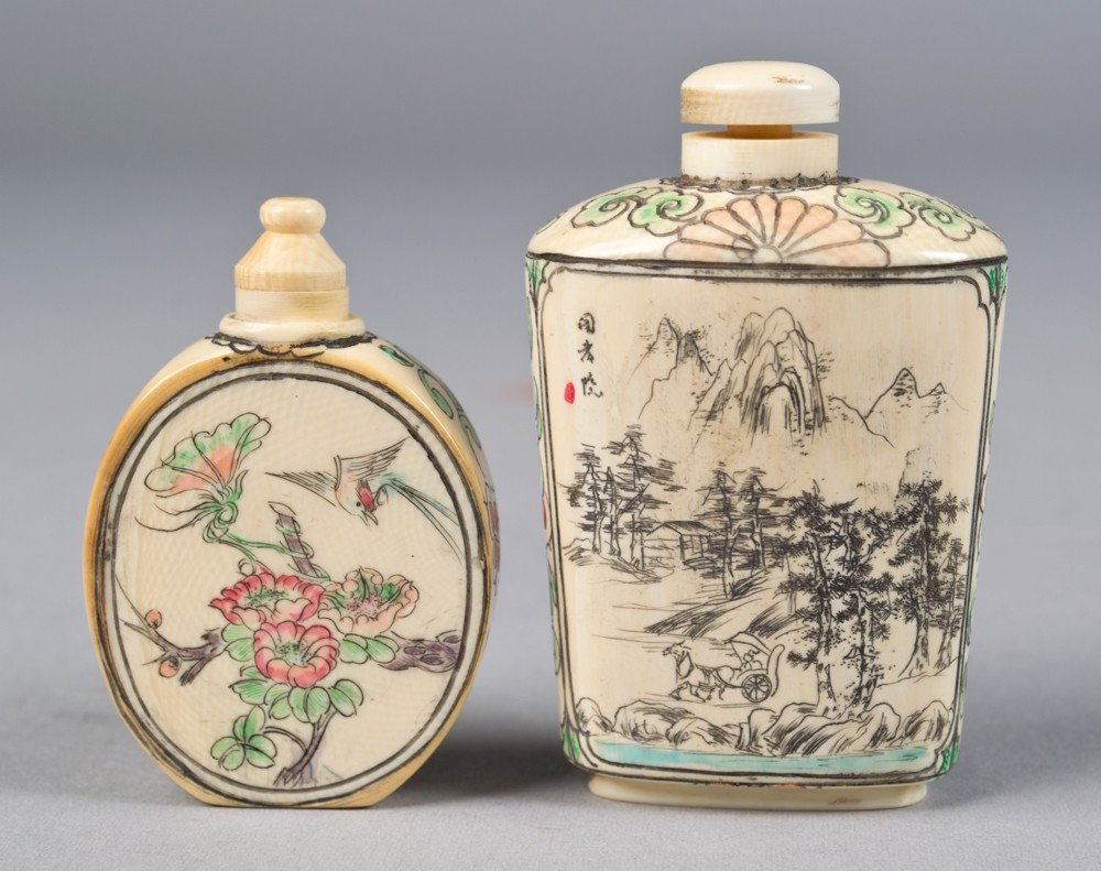 11: (2) Chinese Polychromed Ivory Snuff Bottles