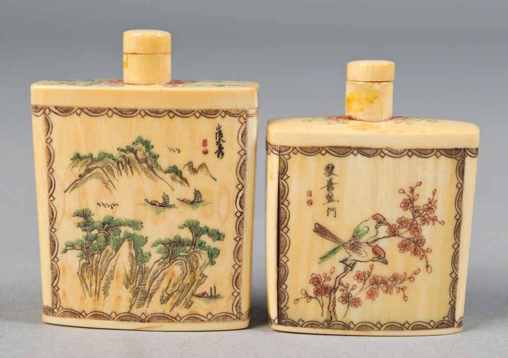 12: (2) Polychromed Chinese Ivory Snuff Bottles