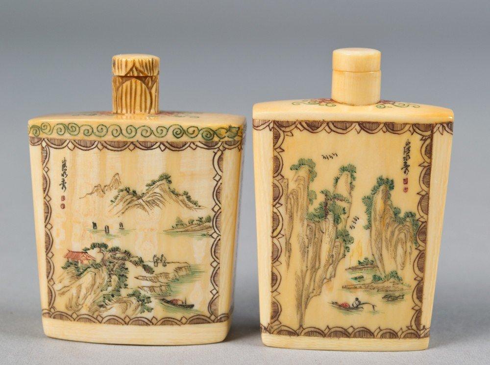 13: (2) Chinese Polychromed Ivory Snuff Bottles