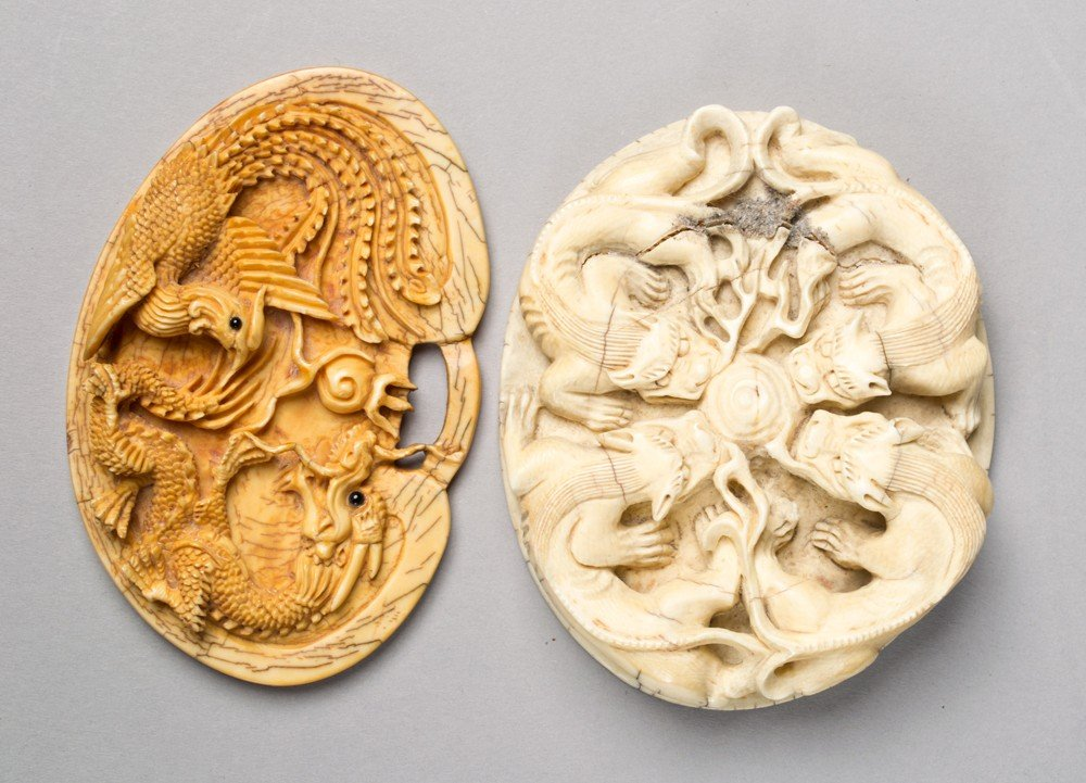 16: (2) Chinese Carved Ivory Plaques