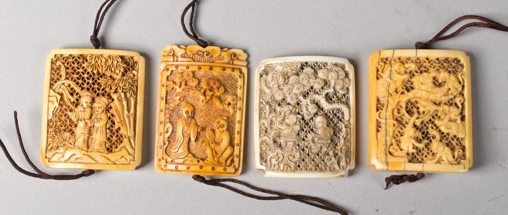 17: (4) Chinese Carved Ivory Plaques