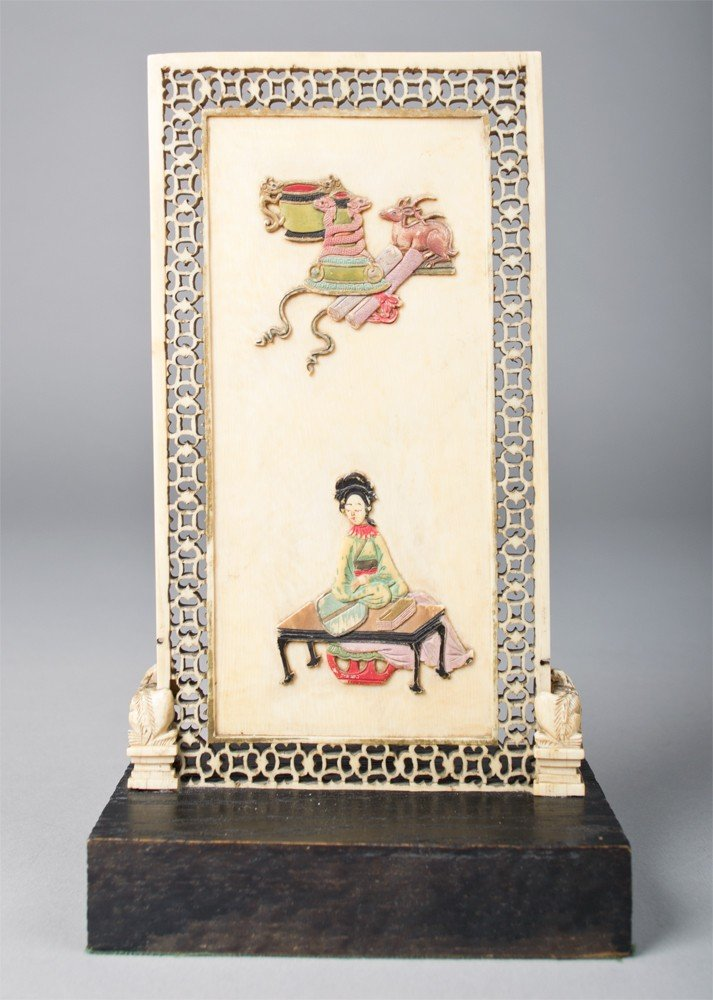 22: Chinese Qing Carved Polychrome Ivory Table Screen