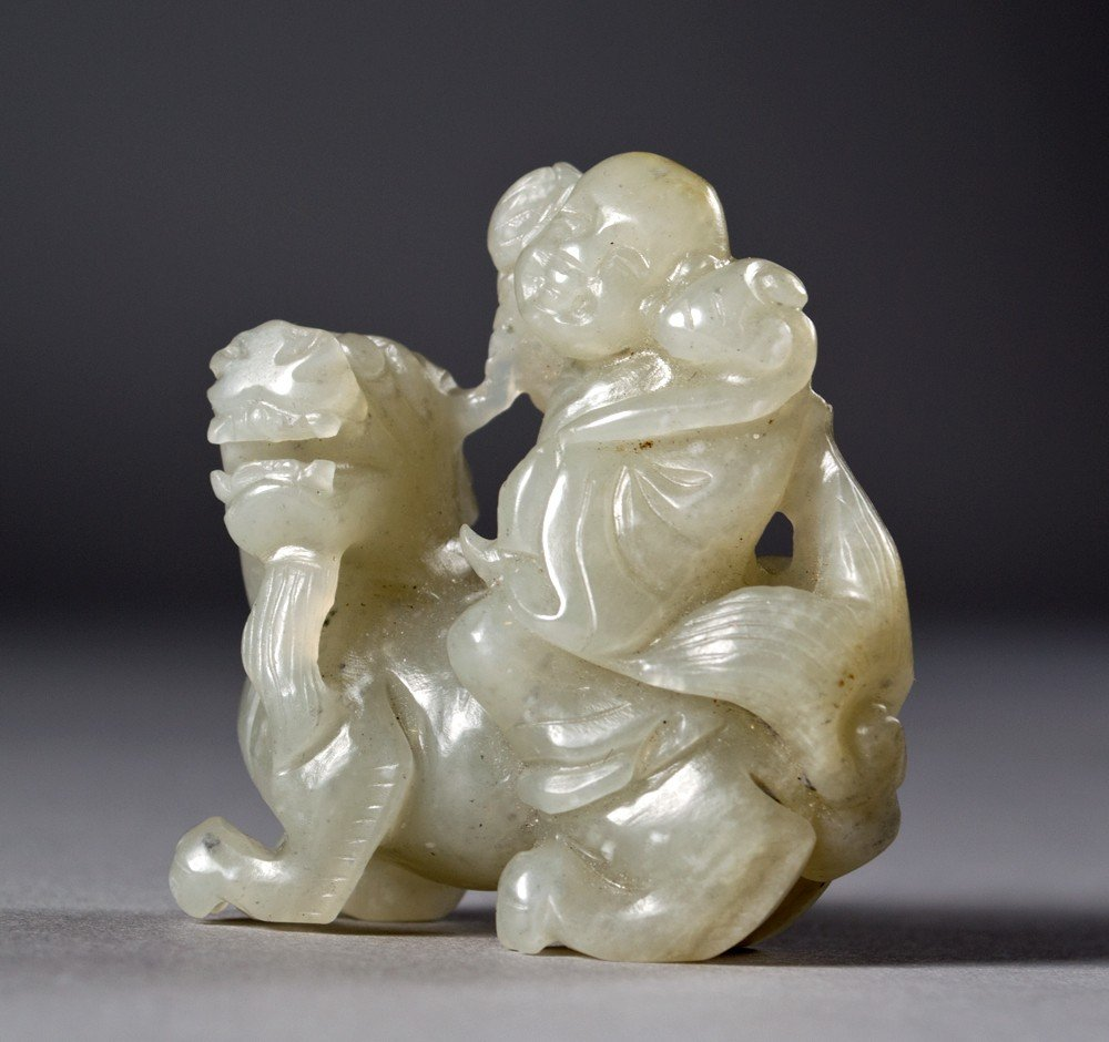 24: Chinese Qing Carved Pebble Jade Toggle
