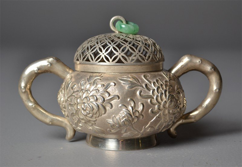 236: Chinese Qing Silver Two Handled Pot