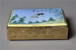 370 Chinese Enamel Over Brass Jewelry Box