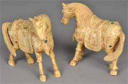 Pair Of Chinese Qing Carved Ivory Jeweled Horses
