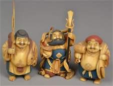 457: (3) Japanese Polychrome Ivory Okimono
