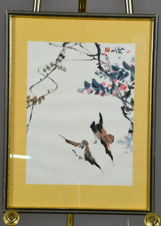 555: Chinese Qing Watercolor Painting on Paper