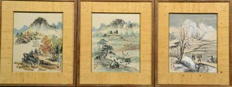 556: (3) Chinese Qing Watercolor Paintings on Paper