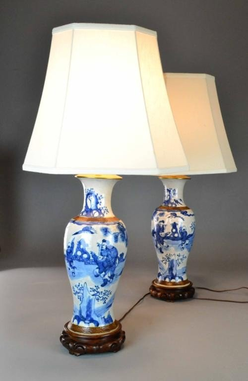 (2) PAIR BLUE & WHITE CHINESE LAMPS