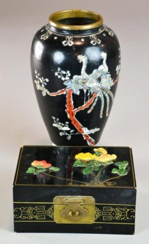 (2)PIECES CHINESE INLAID LACQUER WARE