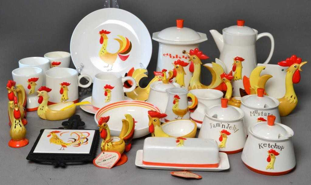 31 Pc Holt Howard Rooster Table Items