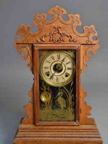 GINGERBREAD MANTLE CLOCK MARKED WELCH