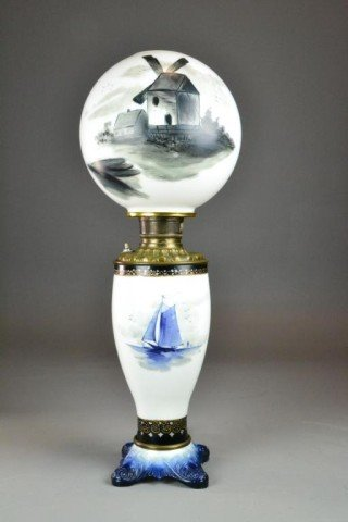 LARGE DELFT HAND-PAINTED LAMP