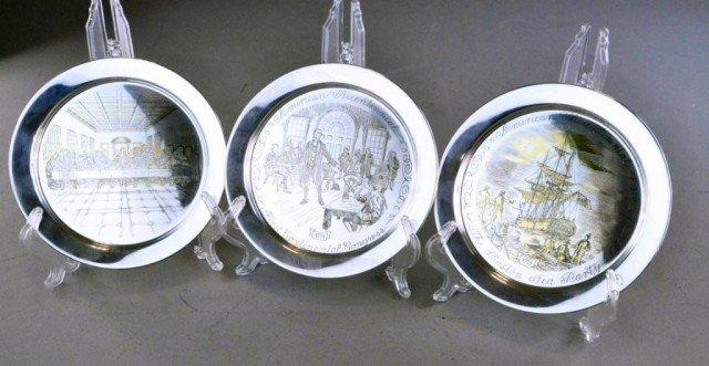 (3) Danbury Mint Sterling & 24K Gold Limited Edition Pl