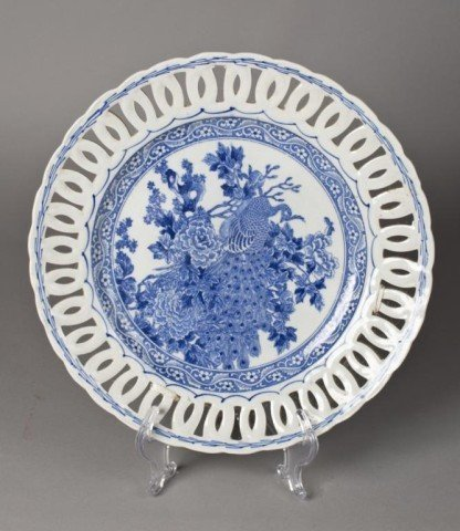 8: A Fine Japanese Reticulated Blue & White Charger