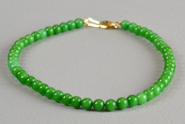 309: Chinese Spinach Jade Bead Necklace