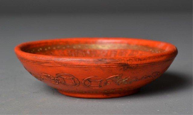 542: Chinese Orange Ink Dish