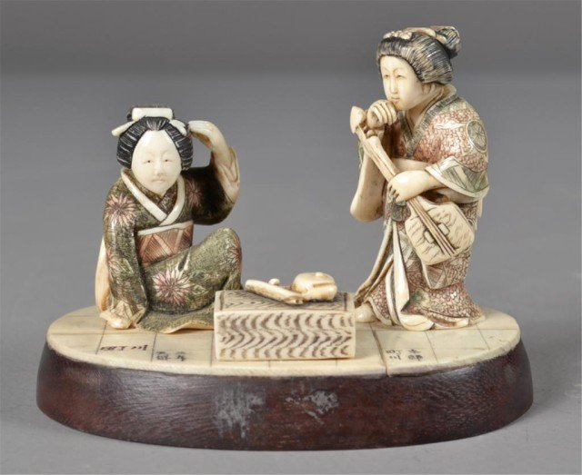 544: Fine Japanese Meji Period Carved Ivory  Grouping