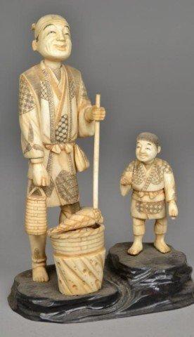546: A Fine Japanese Ivory Okimono Group