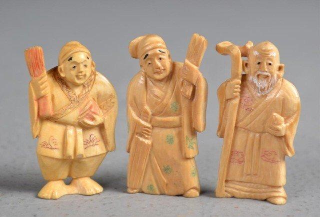547: (3)Japanese Carved Ivory Netsuke